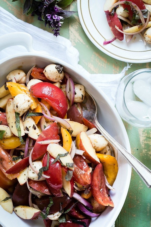 Mozzarella and heirloom tomato salad